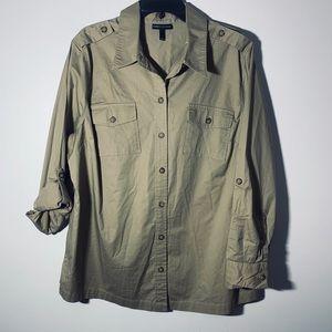 Glamour X Lane Bryant Khaki Button Down Shirt 16
